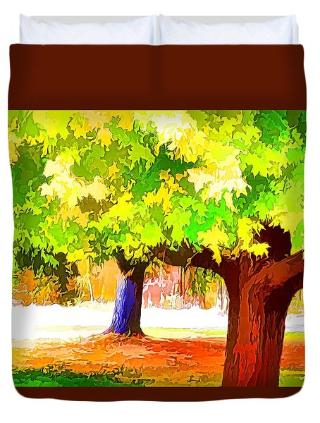 Fall Leaves Trees 1 Duvet Cover by Lanjee Chee