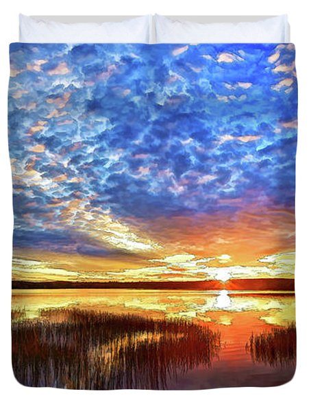 Fall Sunset At Round Lake Panorama Duvet Cover by Bill Caldwell -        ABeautifulSky Photography