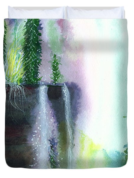 Falling waters 1 Duvet Cover by Anil Nene