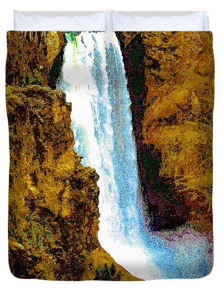 Falls Of The Yellowstone Duvet Cover by David Lee Thompson