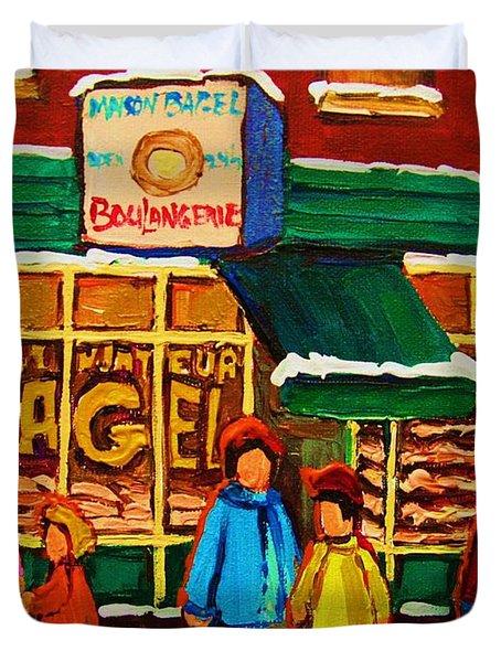 Family  Fun At St. Viateur Bagel Duvet Cover by Carole Spandau