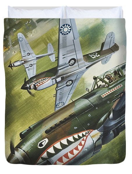 Famous Aircraft And Their Pilots Duvet Cover by Wilf Hardy