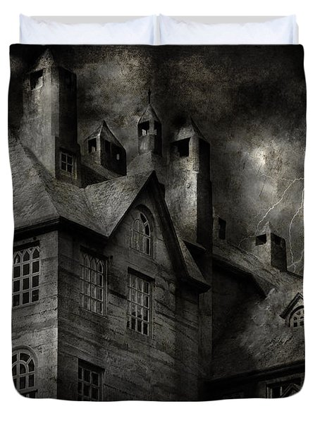 Fantasy - Haunted - It was a dark and stormy night Duvet Cover by Mike Savad
