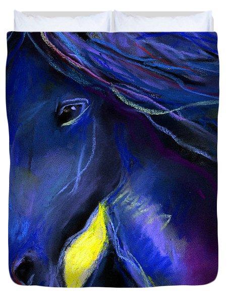 Fantasy Friesian Horse Painting Print Duvet Cover by Svetlana Novikova