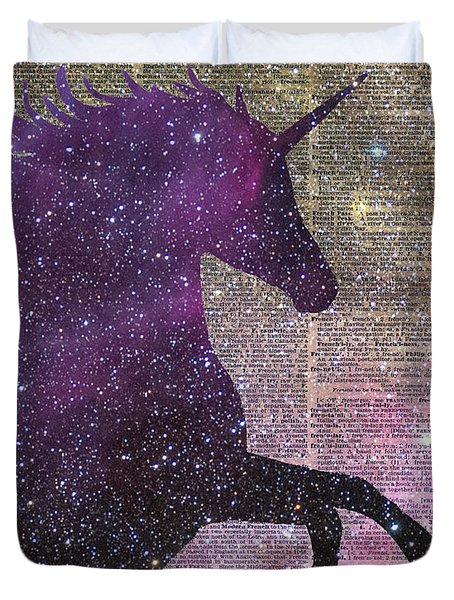 Fantasy Unicorn In The Space Duvet Cover by Jacob Kuch