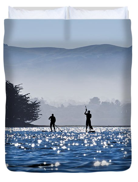 Faraway Paddle Boarders in Morro Bay Duvet Cover by Bill Brennan - Printscapes