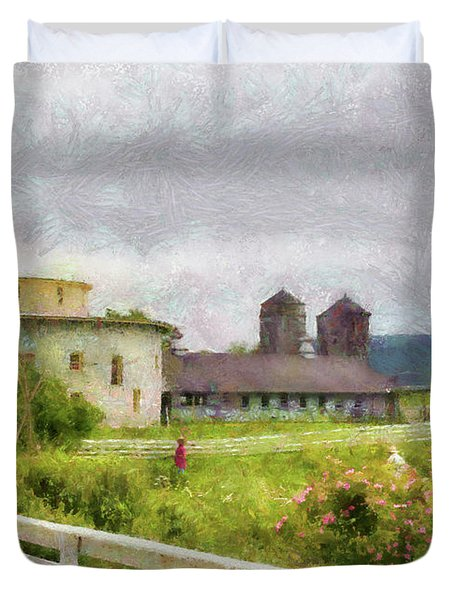Farm - Barn - Farming is hard work Duvet Cover by Mike Savad