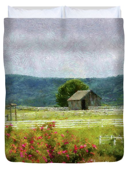 Farm - Barn - Out in the country  Duvet Cover by Mike Savad