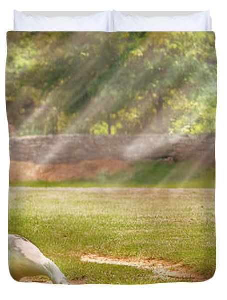 Farm - Geese -  Birds Of A Feather - Panorama Duvet Cover by Mike Savad