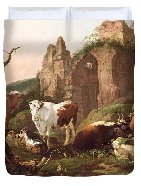Farm Animals In A Landscape Duvet Cover by Johann Heinrich Roos