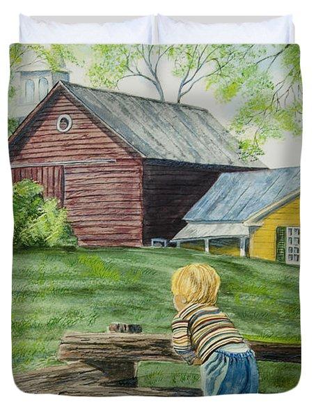 Farm Boy Duvet Cover by Charlotte Blanchard