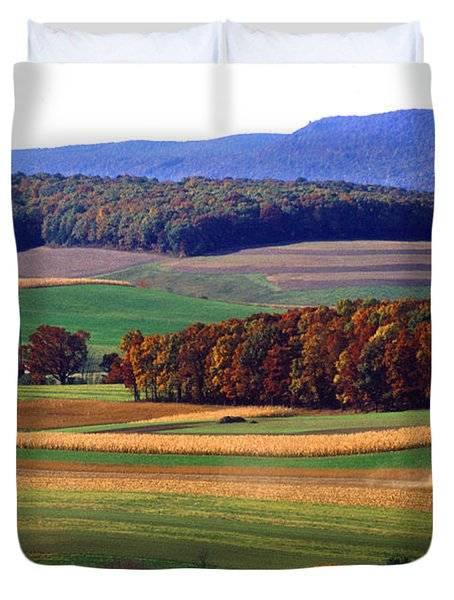 Farm Near Klingerstown Duvet Cover by USDA and Photo Researchers