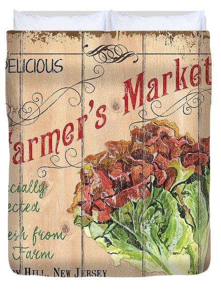 Farmer's Market Sign Duvet Cover by Debbie DeWitt