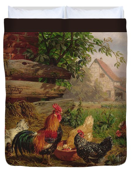 Farmyard Chickens Duvet Cover by Carl Jutz