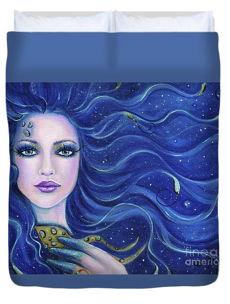 Fatal Beauty Mermaid Art Duvet Cover by Renee Lavoie