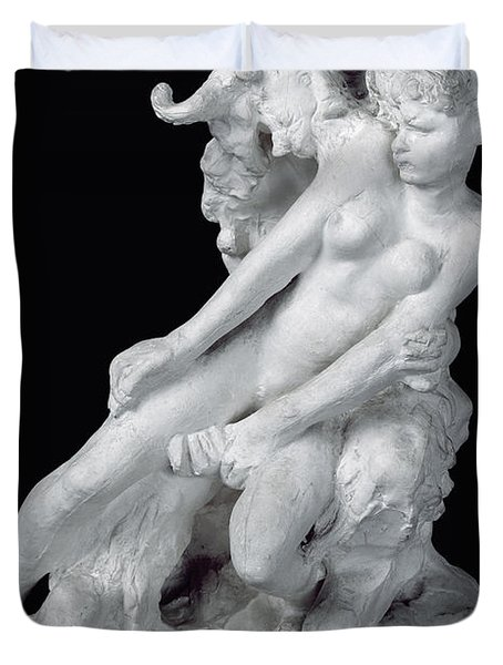Faun And Nymph Duvet Cover by Auguste Rodin
