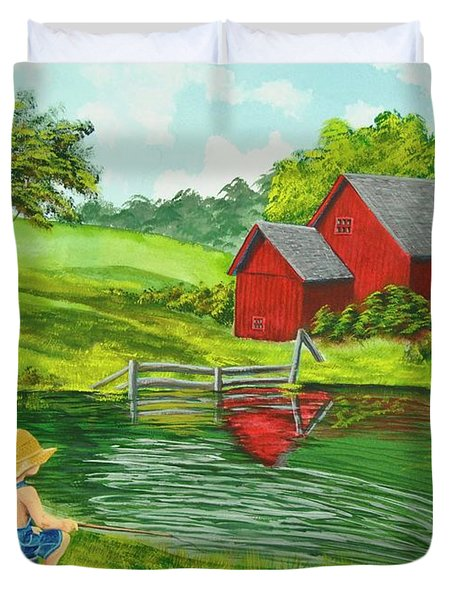 Favorite Fishing Hole Duvet Cover by Charlotte Blanchard
