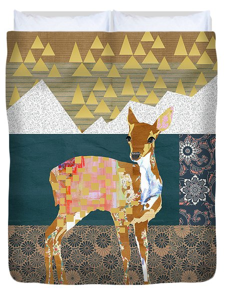 Fawn Collage Duvet Cover by Claudia Schoen