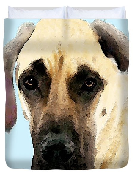 Fawn Great Dane Dog Art Painting Duvet Cover by Sharon Cummings