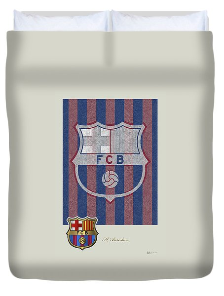 Fc Barcelona Logo And 3d Badge Duvet Cover by Serge Averbukh
