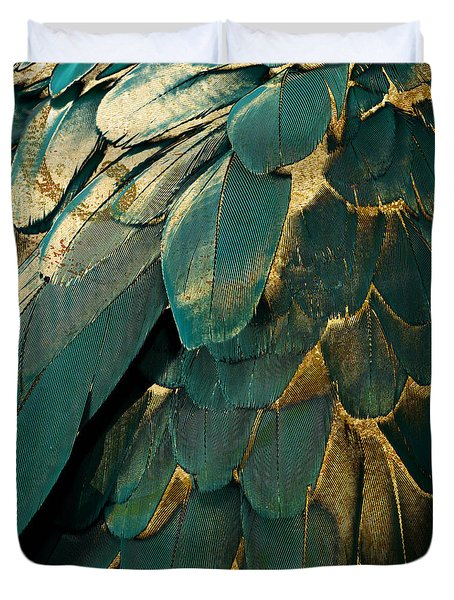 Feather Glitter Teal And Gold Duvet Cover by Mindy Sommers