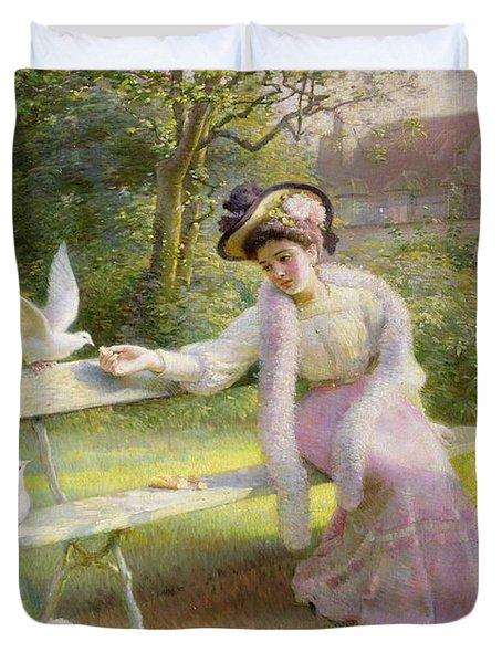 Feeding The Doves  Duvet Cover by Edmond Alphonse Defonte