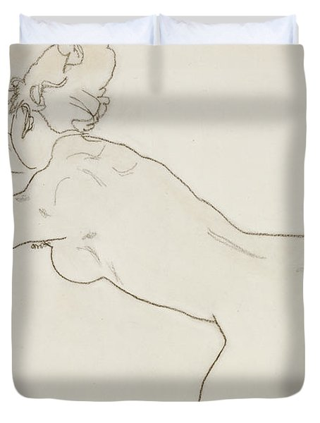 Female Nude Kneeling And Bending Forward To The Left Duvet Cover by Egon Schiele