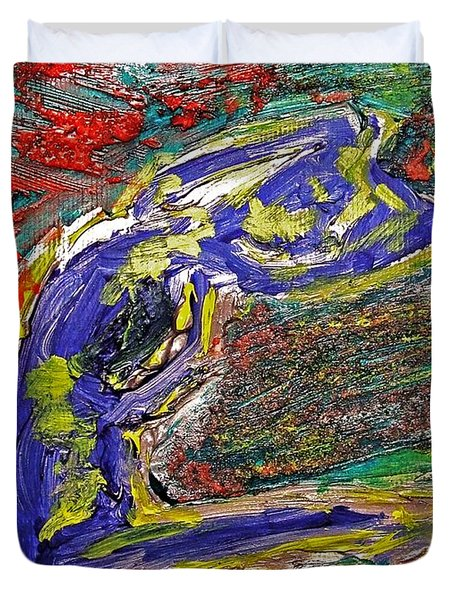 Female Washing Hair With Bold Primary Colors Textures And Expressionism  Duvet Cover by MendyZ M Zimmerman