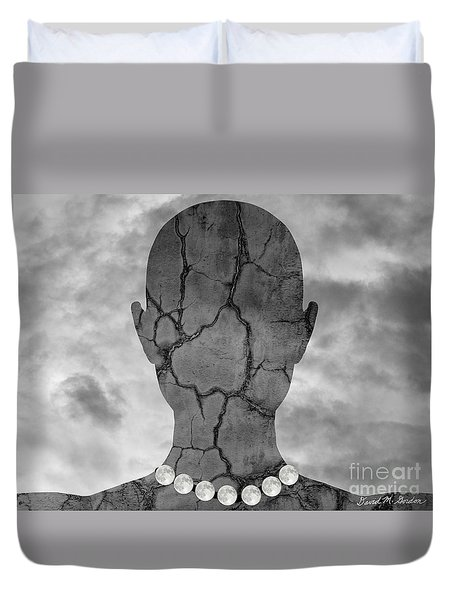 Feminine Figure With Moon Necklace Duvet Cover by Dave Gordon