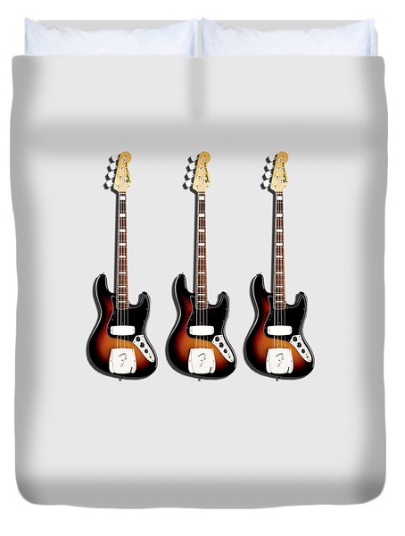 Fender Jazzbass 74 Duvet Cover by Mark Rogan