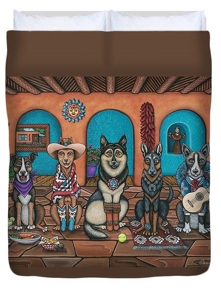 Fiesta Dogs Duvet Cover by Victoria De Almeida