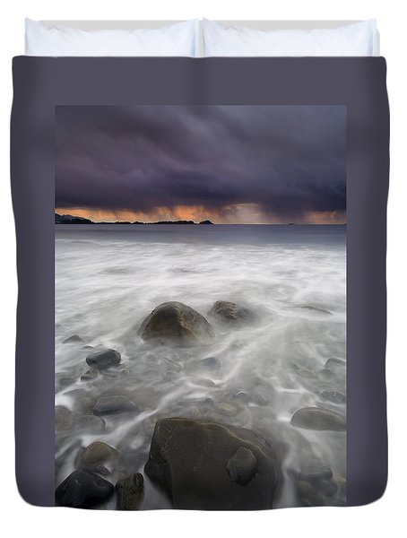 Fingers Of The Storm Duvet Cover by Mike  Dawson