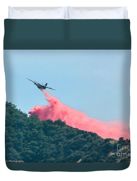Fire Bomber Drop Duvet Cover by Tommy Anderson