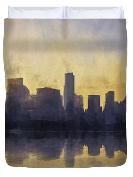 Fire In The Sky Chicago At Sunset Duvet Cover by Scott Norris
