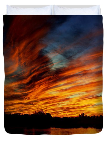 Fire Sky Duvet Cover by Saija  Lehtonen