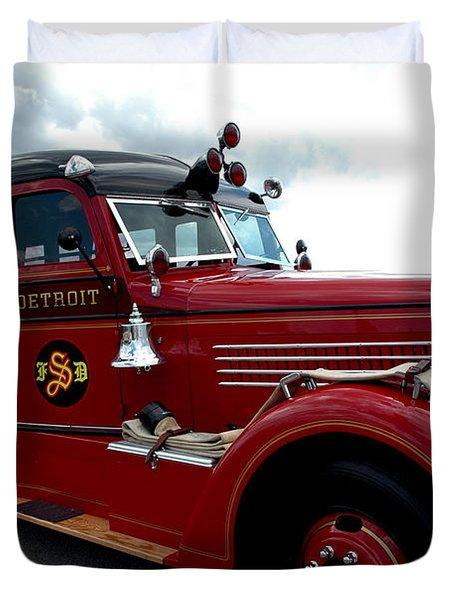Fire Truck Selfridge Michigan Duvet Cover by LeeAnn McLaneGoetz McLaneGoetzStudioLLCcom