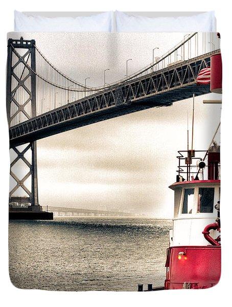 Fireboat and Bay Bridge HDR Duvet Cover by Jarrod Erbe
