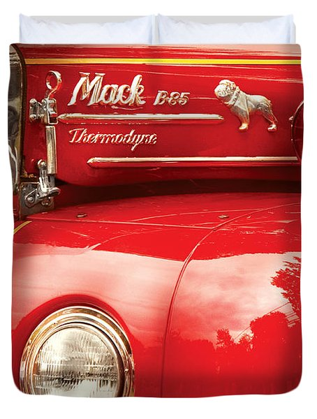 Fireman - An Old Fire Truck Duvet Cover by Mike Savad