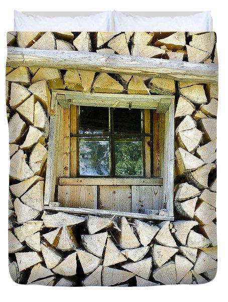 Firewood Duvet Cover by Frank Tschakert