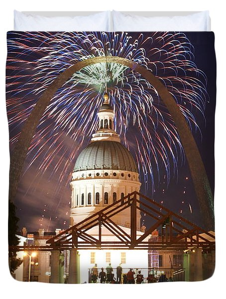 Fireworks At The Arch 1 Duvet Cover by Marty Koch