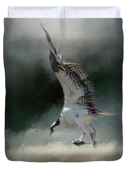 First Catch Of The Morning Osprey Art By Jai Johnson Duvet Cover by Jai Johnson