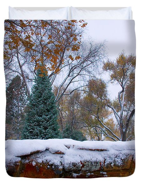 First Colorful Autumn Snow Duvet Cover by James BO  Insogna