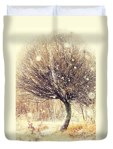 First Snow. Snow Flakes Duvet Cover by Jenny Rainbow