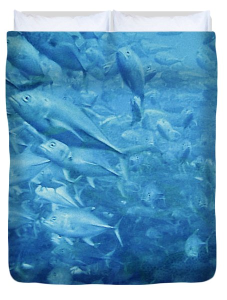 Fish Schooling Harmonious Patterns Throughout The Sea Duvet Cover by Christine Till