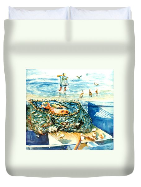 Fisherman And His Assistants Duvet Cover by Estela Robles