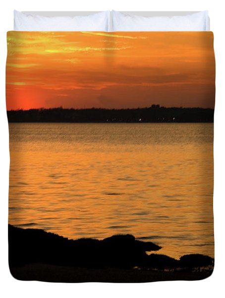 Fishing At Sunset Duvet Cover by Karol  Livote