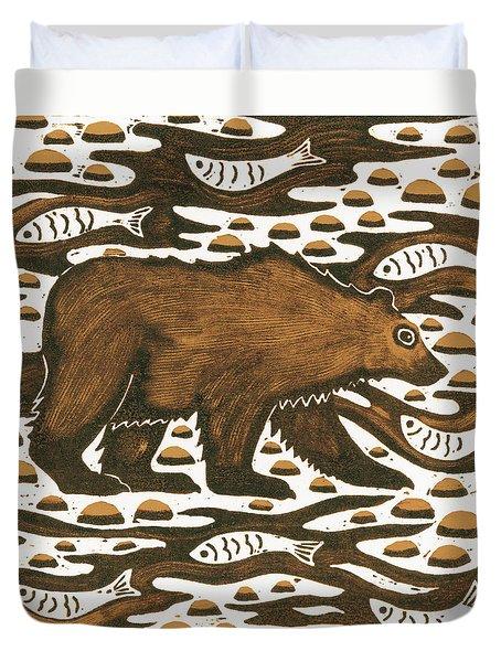 Fishing Bear Duvet Cover by Nat Morley