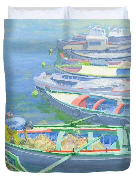 Fishing Boats Duvet Cover by William Ireland