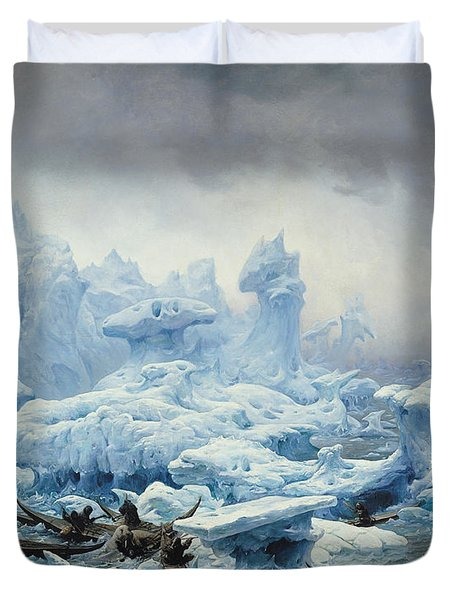 Fishing For Walrus In The Arctic Ocean Duvet Cover by Francois Auguste Biard