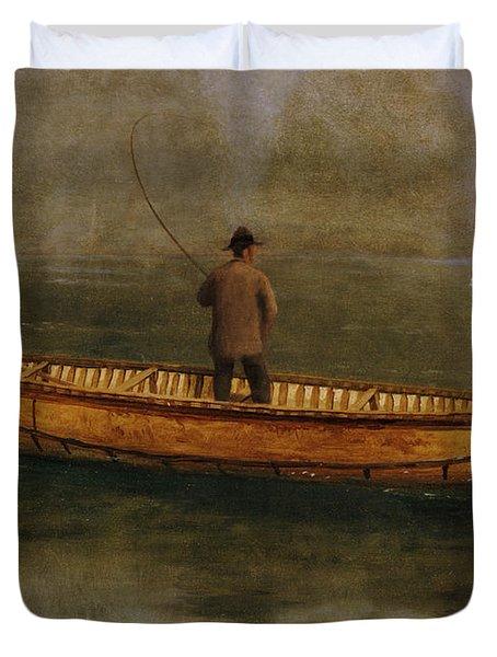 Fishing From A Canoe Duvet Cover by Albert Bierstadt